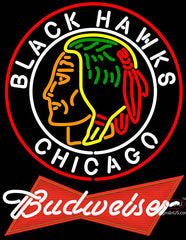 Budweiser Logo Commemorative  Chicago Blackhawks Neon Sign