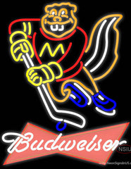 Budweiser Logo Minnesota Golden Gophers Hockey Real Neon Glass Tube Neon Sign
