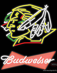 Budweiser Logo North Dakota Fighting Sioux Hockey Real Neon Glass Tube Neon Sign