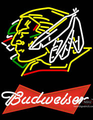 Budweiser Logo North Dakota Fighting Sioux Hockey Neon Sign