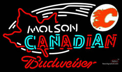 Budweiser Neon Molson Flames Hockey Neon Sign