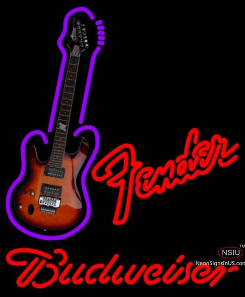 Budweiser Neon Red Fender Guitar Neon Sign  7
