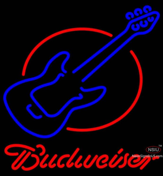 Budweiser Neon Red Round Guitar Neon Sign