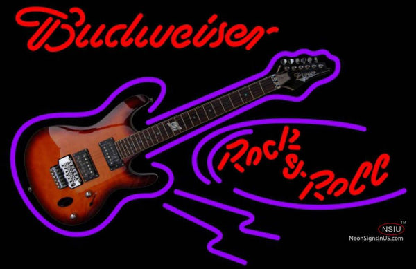 Budweiser Neon Rock N Roll Electric Guitar Neon Sign