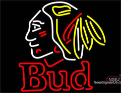 Bud Chicago Blackhawks Indian Neon Beer Sign