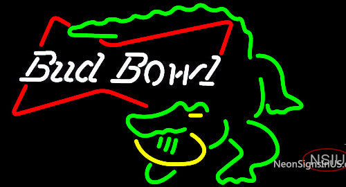 Bud Bowl Alligator Neon Beer Sign