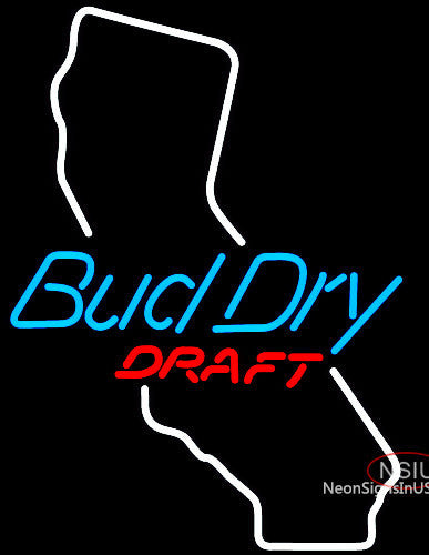 Bud Dry California Neon Beer Sign
