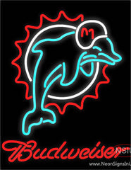 Budweiser Miami Dolphins NFL Real Neon Glass Tube Neon Sign