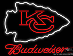 Budweiser Kansas City Chiefs NFL Real Neon Glass Tube Neon Sign