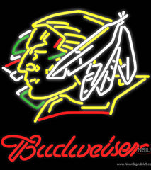 Budweiser North Dakota Fighting Sioux Hockey Real Neon Glass Tube Neon Sign