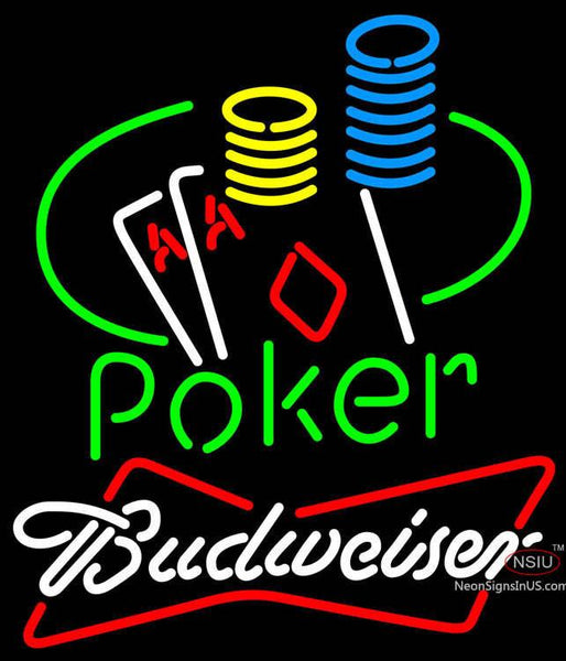 Budweiser Poker Ace Coin Table Neon Sign