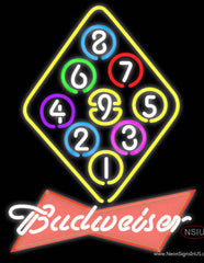 Budweiser Red Ball Billiards Rack Pool Real Neon Glass Tube Neon Sign