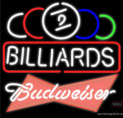 Budweiser Red Ball Billiards Text Pool Real Neon Glass Tube Neon Sign   x