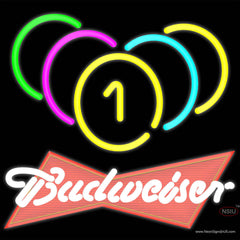 Budweiser Red Billiards Rack Pool Real Neon Glass Tube Neon Sign   x
