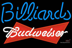 Budweiser Red Billiards Text Pool Neon Sign