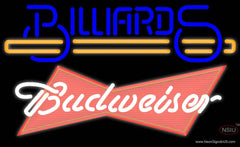Budweiser Red Billiards Text With Stick Pool Real Neon Glass Tube Neon Sign