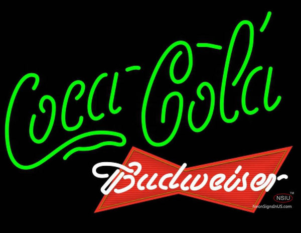 Budweiser Red Coca Cola Green Neon Sign