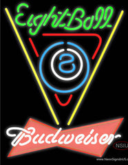 Budweiser Red Eight Ball Billiards Pool Real Neon Glass Tube Neon Sign