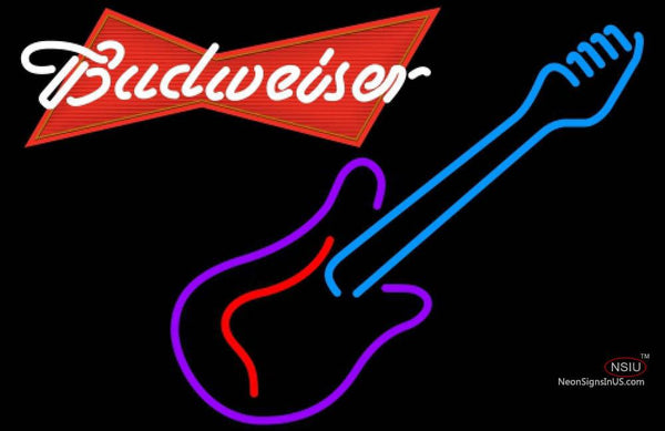 Budweiser Red Guitar Purple Red Neon Sign
