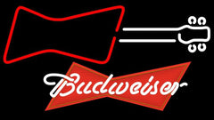 Budweiser Red Guitar Red White Handmade Art Neon Sign