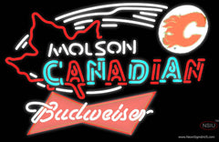 Budweiser Red Molson Flames Hockey Real Neon Glass Tube Neon Sign