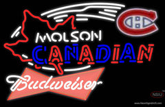 Budweiser Red Molson Montreal Canadians Hockey Real Neon Glass Tube Neon Sign
