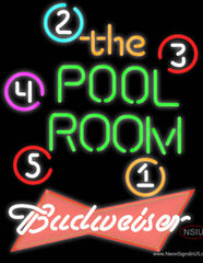 Budweiser Red Pool Room Billiards Real Neon Glass Tube Neon Sign