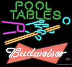 Budweiser Red Pool Tables Billiards Real Neon Glass Tube Neon Sign