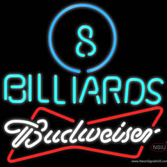 Budweiser White Ball Billiards Pool Real Neon Glass Tube Neon Sign