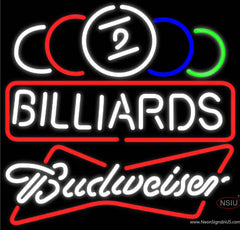 Budweiser White Ball Billiards Text Pool Real Neon Glass Tube Neon Sign   x
