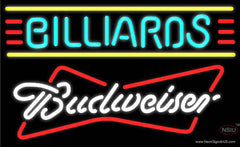 Budweiser White Billiards Text Borders Pool Real Neon Glass Tube Neon Sign