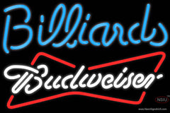 Budweiser White Billiards Text Pool Real Neon Glass Tube Neon Sign