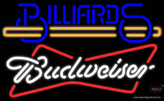 Budweiser White Billiards Text With Stick Pool Real Neon Glass Tube Neon Sign