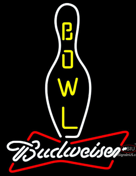 Budweiser White Bowling Neon Sign