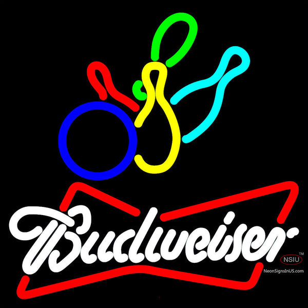 Budweiser White Colored Bowling Neon Sign   x