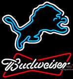 Budweiser White Detroit Lions NFL Neon Sign