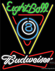 Budweiser White Eight Ball Billiards Pool Real Neon Glass Tube Neon Sign
