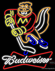 Budweiser White Minnesota Golden Gophers Hockey Real Neon Glass Tube Neon Sign