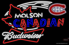 Budweiser White Molson Montreal Canadians Hockey Real Neon Glass Tube Neon Sign