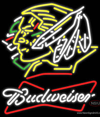 Budweiser White North Dakota Fighting Sioux Hockey Real Neon Glass Tube Neon Sign
