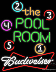 Budweiser White Pool Room Billiards Real Neon Glass Tube Neon Sign  7