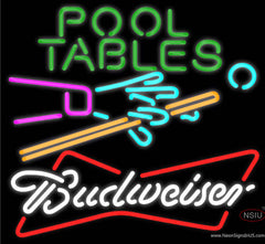 Budweiser White Pool Tables Billiards Real Neon Glass Tube Neon Sign