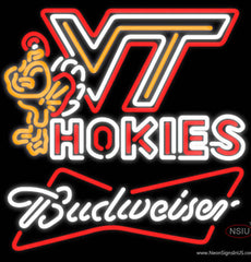 Budweiser White Virginia Tech Vt Hockey Logo Sign