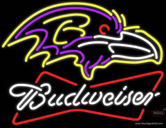 Budweiser Neon Baltimore Ravens NFL Real Neon Glass Tube Neon Sign