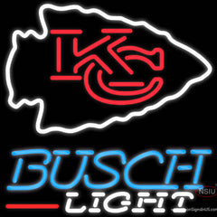 Busch Light Kansas City Chiefs NFL Real Neon Glass Tube Neon Sign   x