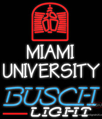 Busch Light Miami UNIVERSITY Real Neon Glass Tube Neon Sign