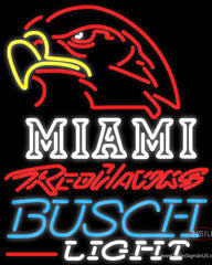 Busch Light Miami UNIVERSITY Redhawks Real Neon Glass Tube Neon Sign