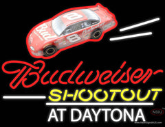 Budweiser Logo With Shootout At Daytona Real Neon Glass Tube Neon Sign