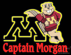 Captain Morgan Minnesota Golden Gophers Hockey Real Neon Glass Tube Neon Sign 7