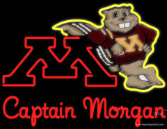 Captain Morgan Minnesota Golden Gophers Hockey Real Neon Glass Tube Neon Sign